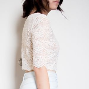 Urban Outfitters Off-White Lace Scalloped Crop Top